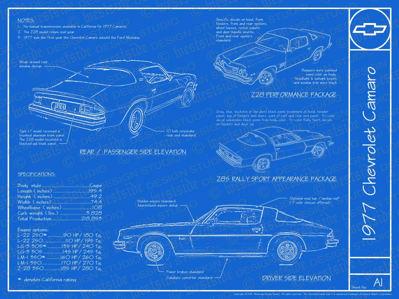 1977 chevrolet camaro blueprint poster 18x24 jpeg zoom malvernweather Choice Image