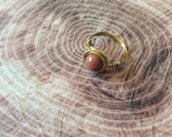 crystal healing  goldstone ring wire wrapped