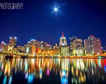 Pittsburgh at Night (Pittsburgh, cityscape, city, bridges)