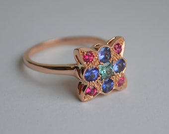 Rose Gold Gemstone Ring, antique gemstone ring, art deco ring, colored gemstone jewelry, gifts for moms, spinel ring, multicolored gems