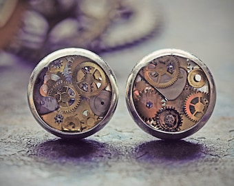 Steampunk Earrings Watch Part Studs Clockwork Jewelry Tiny Cogs Gears Silver Steam Punk Cyberpunk Clock UK Eco Friendly Resin