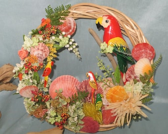 Tropical parrots wreath_beach wreaths_beach decor