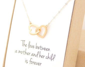 Gold Interlocking Hearts Necklace - Heart Jewelry - New Mom - Mother's Day Gift - Delicate - Overlap Interlocked - Mother of the Bride Gift