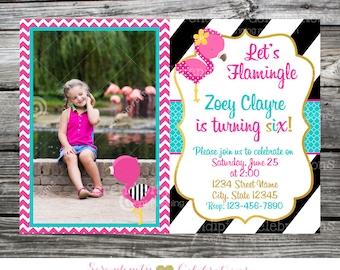Flamingo Invitation, Let's Flamingle Party Birthday Invite, Pink Flamingo Invite, Printed Invitations, Flamingo photo Invitation, pink teal
