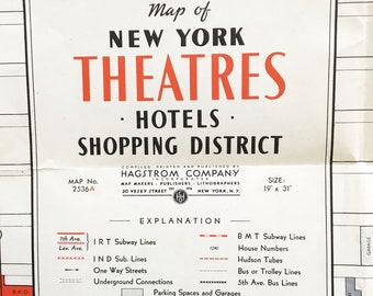 Vintage Hagstrom Map of New York Theatres, Hotels, Shopping District -- Classic 1940s