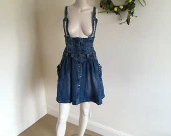Vintage 80s High Waisted Denim Corset Skirt with Adjustable Straps. Size 12