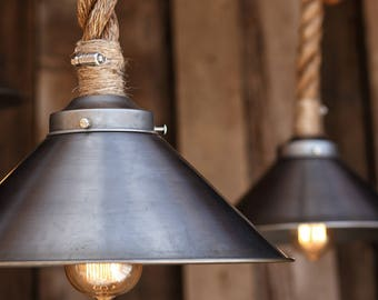 The cabin lit chandelier antler shed pendant rope light the factory steel pendant light industrial manila rope lighting rustic swag ceiling lamp mozeypictures Image collections