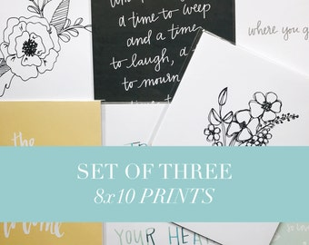 Art Print Set - Art Print Bundle - Set of Three - Group of Three Art Prints - Gallery Wall Prints - Gift Set