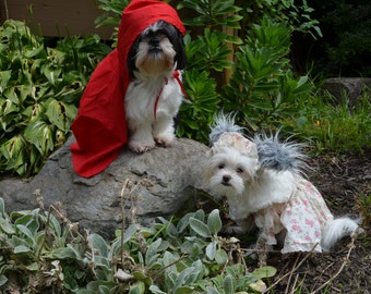 Custom made to order floral print Little Red Riding Hood  or Granny Costume (Dress and Bonnet or Dress with cape)