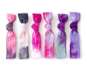 The Love Package - LIMITED EDITION - Elastic Tie Dye Hair Ties in Pink Purple Colors that Double as Bracelets by Mane Message on Etsy