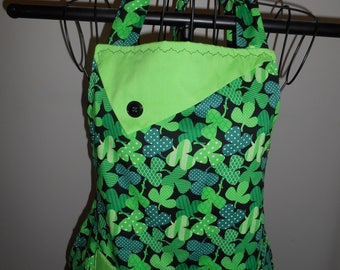 Polka Dot Shamrocks - Women's Apron - Irish - Ireland - pocket-ruffle - Stripes