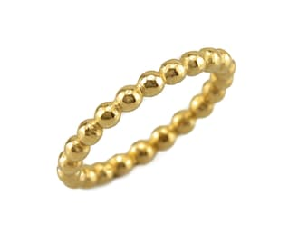 Classic 14k Gold wedding band ring with a row of tiny balls - Thin wedding band ring- Free Shipping