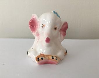Ceramic Elephant Figurine with Blue Bow - Japan