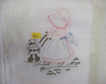 """denim Ann  #41 100% cotton flour sack t-towel.  28""""x29"""" whit in color"""