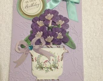 Handmade Happy Birthday Card, 3D, Purple and Blue, Flower Pot Card
