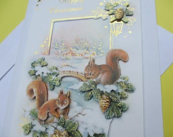 Card 3D (relief) Theme Christmas snowy landscape and squirrels
