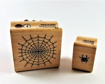 Spider and Web Mounted Rubber Stamp Set
