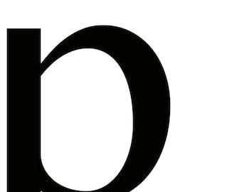 Letter P Black Monogram Typography Art Print Wall Decor Image - Unframed Poster