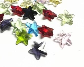 sale-10pc Imitation mix color  crystal starfish shape glass beads-6726