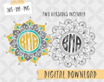 Floral Mandala Monogram digital file SVG - Vector Cut File, Clipart - for electronic cutter - Yeti tumbler decal - Digital Download