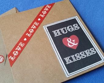 Hugs and Kisses Handmade Love Card - Recycled Kraft Paper Square Greeting Card, Blank Card, hugs & kisses