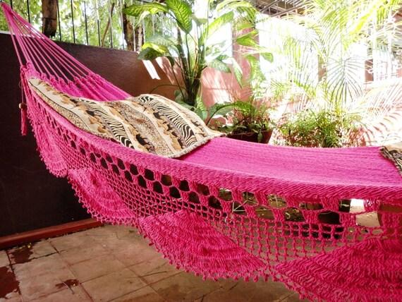 Fuchsia pink hammock Double Hammock hand-woven Natural Cotton