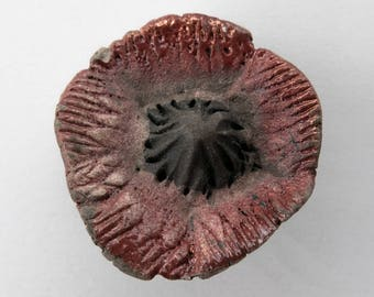 Pendant, flower, ceramic bead, Raku, red, 1 X