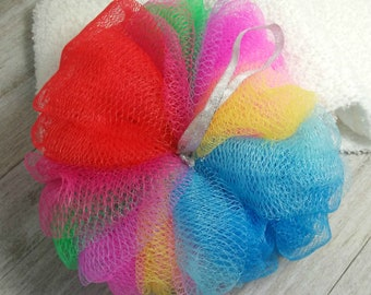 Shower Puff Handmade Body Puff Super Size Extra Large Bath Puff Rainbow Shower sponge HUGE