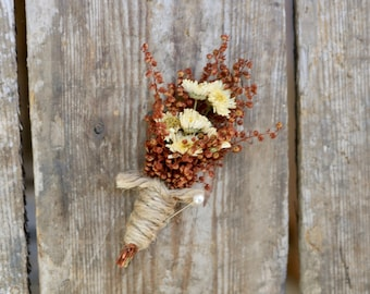 AUTUMN Boutonniere - Rustic Wedding - Groom Boutonniere - Groomsmen Boutonniere - Corsage - Fall Wedding - Small Simple Boutonniere