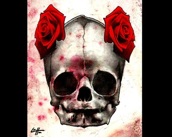 "Print 8x10"" - Skull - Skull Skeleton Bones Roses Dark Art Horror Lowbrow Pop Flowers Cute Gothic Day of the Dead Macabre Death"