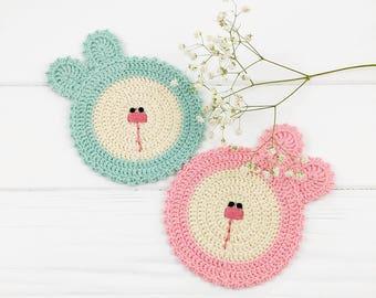 Coaster Pattern, Crochet Pattern, Crochet Doily, Easy Crochet Pattern, Coaster Crochet, Easter Bunny, Coaster Tutorial, Pdf Tutorial