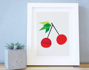 Art Print, Kids, Nursery Decor, Baby Print, Cherry Art, Fruit Wall Art, Nursery Print, Kid Print, 8x10, 16x20, Red, Kids Decor. Cherry Print