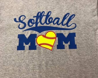 Softball mom shirt personalized with name and number on back