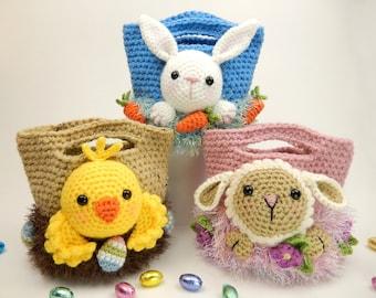 Easter Treat Bags, Bunny, Chick and Lamb - Amigurumi Crochet Pattern