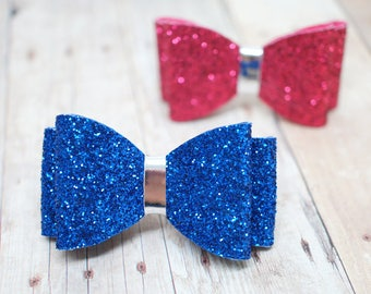 Glitter Hair Bow - Royal Blue or Hot Pink - Alligator Hair Clip - for all ages