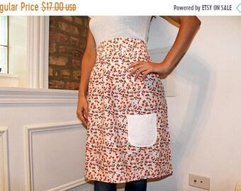 ON SALE Orange cotton floral print half apron