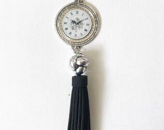 Long Tassel Clock Pendant Necklace