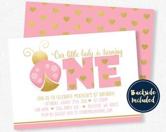 Ladybug Birthday Invitation, First Birthday Invitation, Pink and Gold Invitation, Girls Birthday Invitation, Little Lady Party
