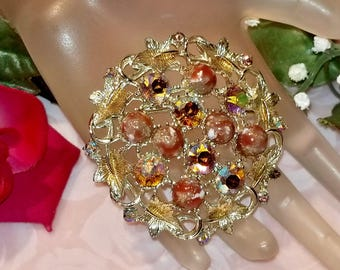 Sarah Coventry Aurora Borealis Rhinestones & Marbled Cabochon Bead Floral Brooch Pin | Vintage Retro 1970's | Lovely Condition | Jewelry