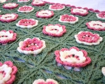 Crochet flower afghan pink green white throw lap blanket floral spring granny squares home decor rose sage feminine