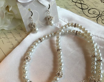 Wedding Jewelry Set- Crystal and Pearl Necklace and Earring Set in White or Ivory Pearls - Wedding Jewelry for the Bride or Bridesmaids
