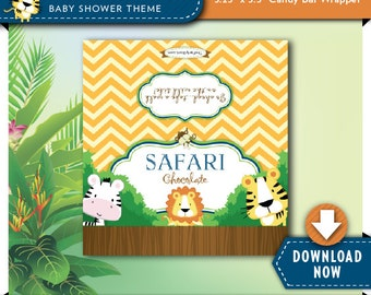 Safari Baby Shower Candy Bar Wrapper Label | Girl or Boy Printable Baby Shower Favor | Chocolate Candy Wrappers | Instant Download