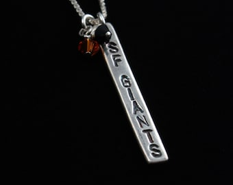 San Francisco Giants Necklace - Fine Silver - Tag Style - Handmade Artisan Jewelry - Sterling Silver Chain - ME Designs