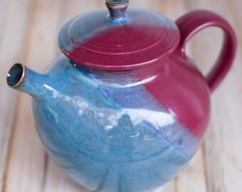 Teapot- Handthrown pottery- 7+ cup capacity, Twilight / Raspberry