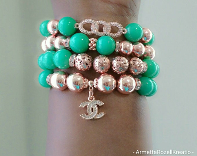 Designer Inspired Ladies Jade Green & Rosegold hematite Beaded Charm Bracelet Stack, wedding jewelry, Yoga Bracelet's