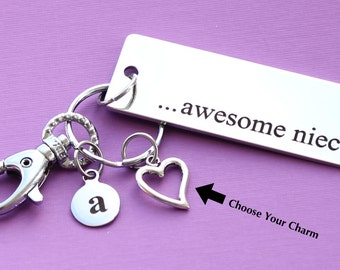 Personalized Niece Key Chain Stainless Steel Customized with Your Charm & Initial -K484