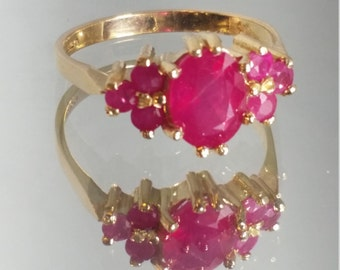 9K Solid Yellow Gold Ruby Ring Retro Vintage