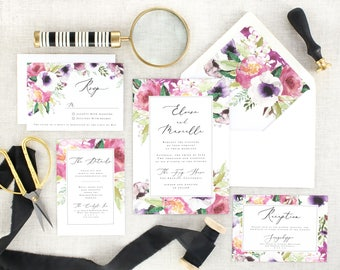 Watercolor Wedding Invitation Floral Invites Wedding - Pink Wedding Invitation Set Printed - Printed Wedding Invitation Suite - Set of 10