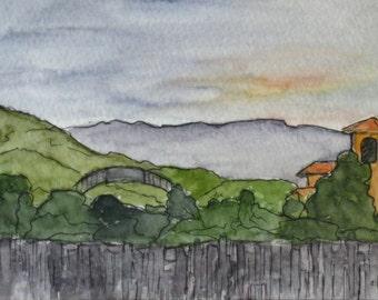 California Art Painting Watercolor Pen Ink Napa Hills Klein Vineyards Olive Press Original Sonoma Napa Artist Painting Kathleen Daughan