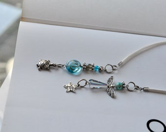 Angel Beaded Bookmark in Transparencies beads that change colors depending on the light with tortle and star charms